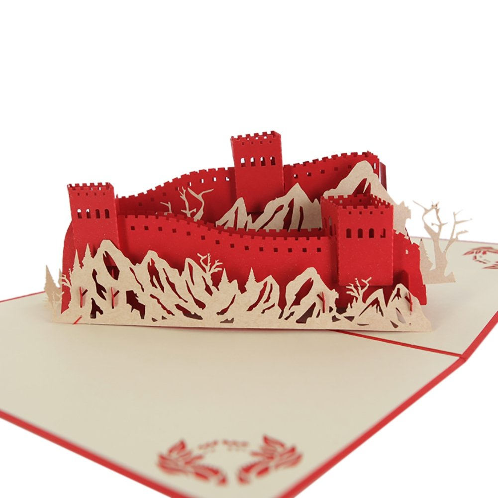 UmayBeauty 3D Carte Pop-Up fatte a mano con China Classic Spot Benedizioni di auguri fai da te 17 * 18 cm - The Great Wall