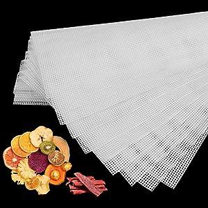Liangzhou 8 PCS Silicone Dehydrator Sheets, Non-stick Fruit Dehydrator Mats, Reusable drying screens for herbs or Fruit Dryer 14inch