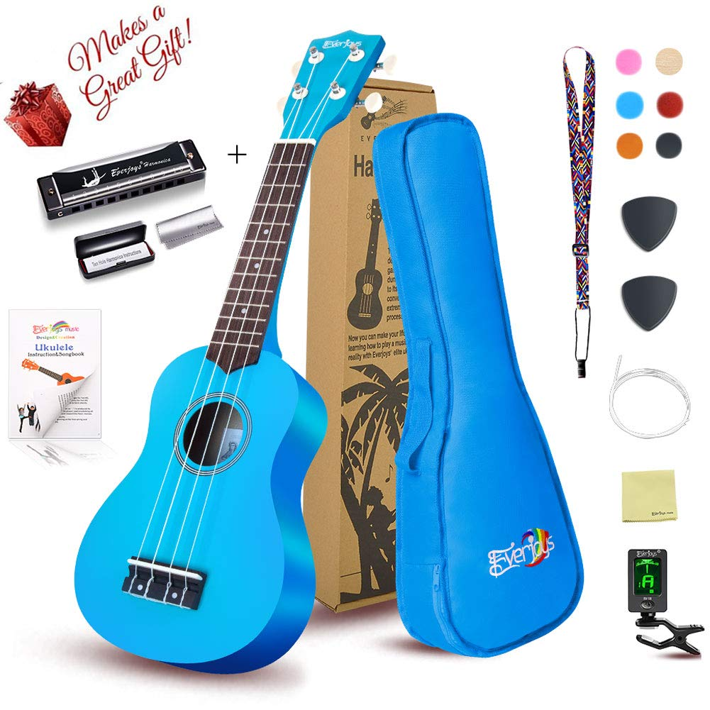 Soprano Ukulele Beginner Pack-21 Inch w/Gig Bag Fast Learn Songbook Digital Tuner All in One Kit Honey Everjoys