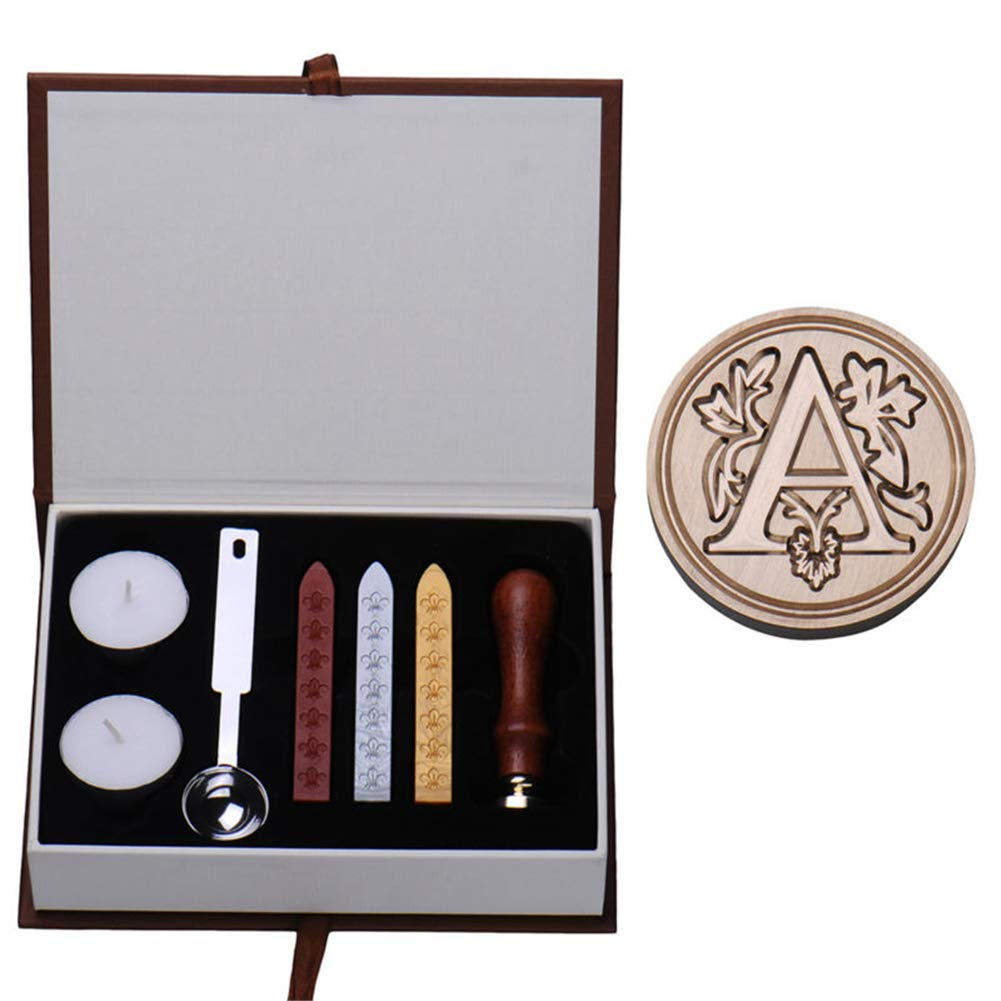 Seal kit, vintage iniziali lettere dalla A alla x alfabeto cera badge sigillo timbro di cera di candela cucchiaio manico in legno strumento regalo V Hippicity