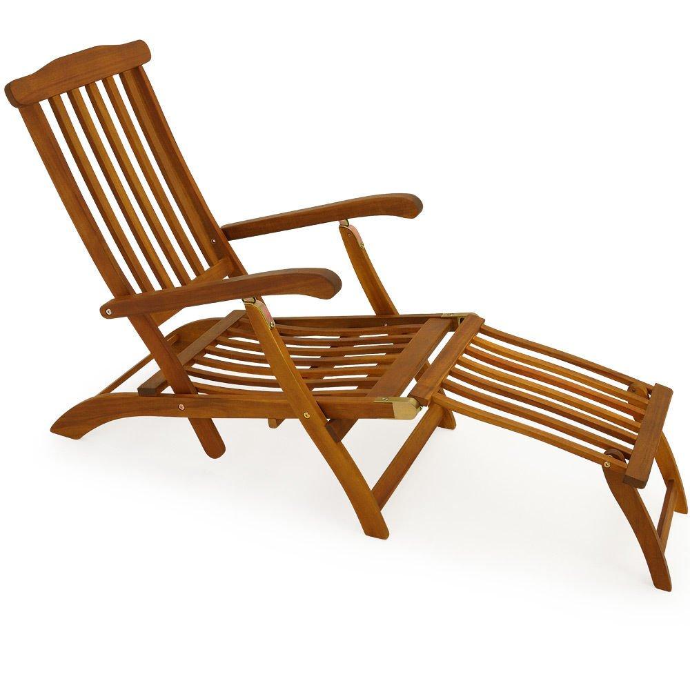 SSITG Holzliege Deckchair Sonnenliege Liegestuhl Liege Gartenliege Holz Gartenmöbel
