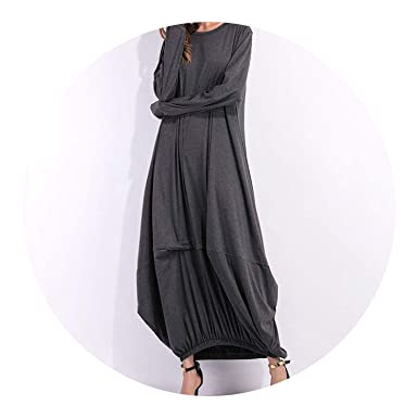 2018 Autumn Winter Cotton Vintage DressLoose Boho Dresses Vestidos Plus Size,Dark Grey,S