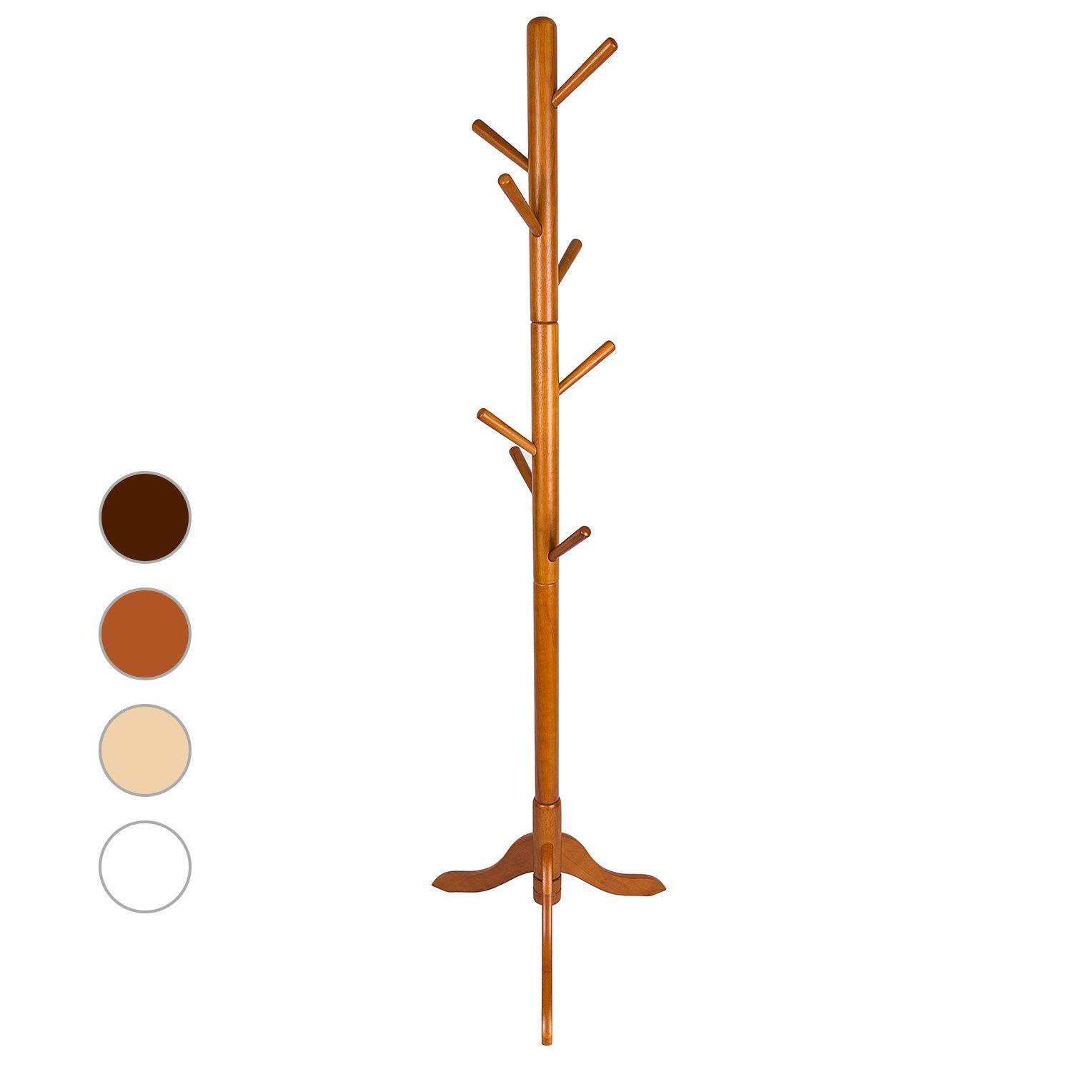 LCH Sturdy Standing Coat Rack Solid Rubber Wood Hall Tree Coat Tree with Tripod Base,8 Hooks(Honey) by LCH (Image #1)