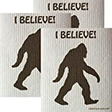 I Believe Bigfoot Set of 3 each Swedish Dishcloths | ECO Friendly Absorbent Cleaning Cloth | Reusable Cleaning Wipes