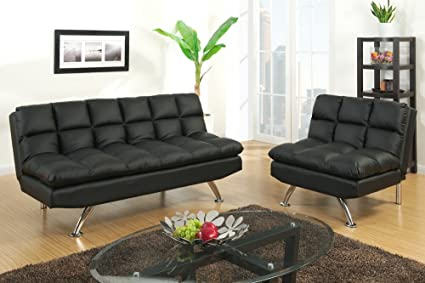 Amazon Com 2 Pc Black Faux Leather Tufted Upholstered Futon Sofa