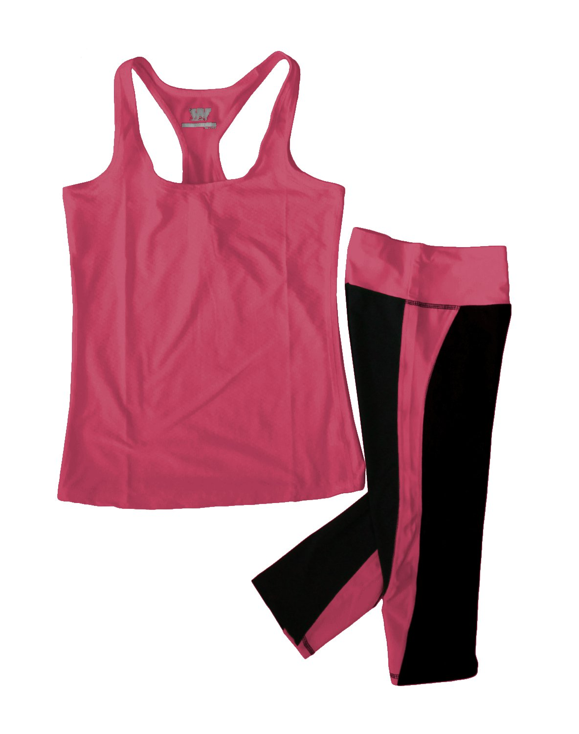 Women's Moisture Wick Athletic Yoga Tank Top & Racer Stripe Capri Leggings, Raspberry, Medium