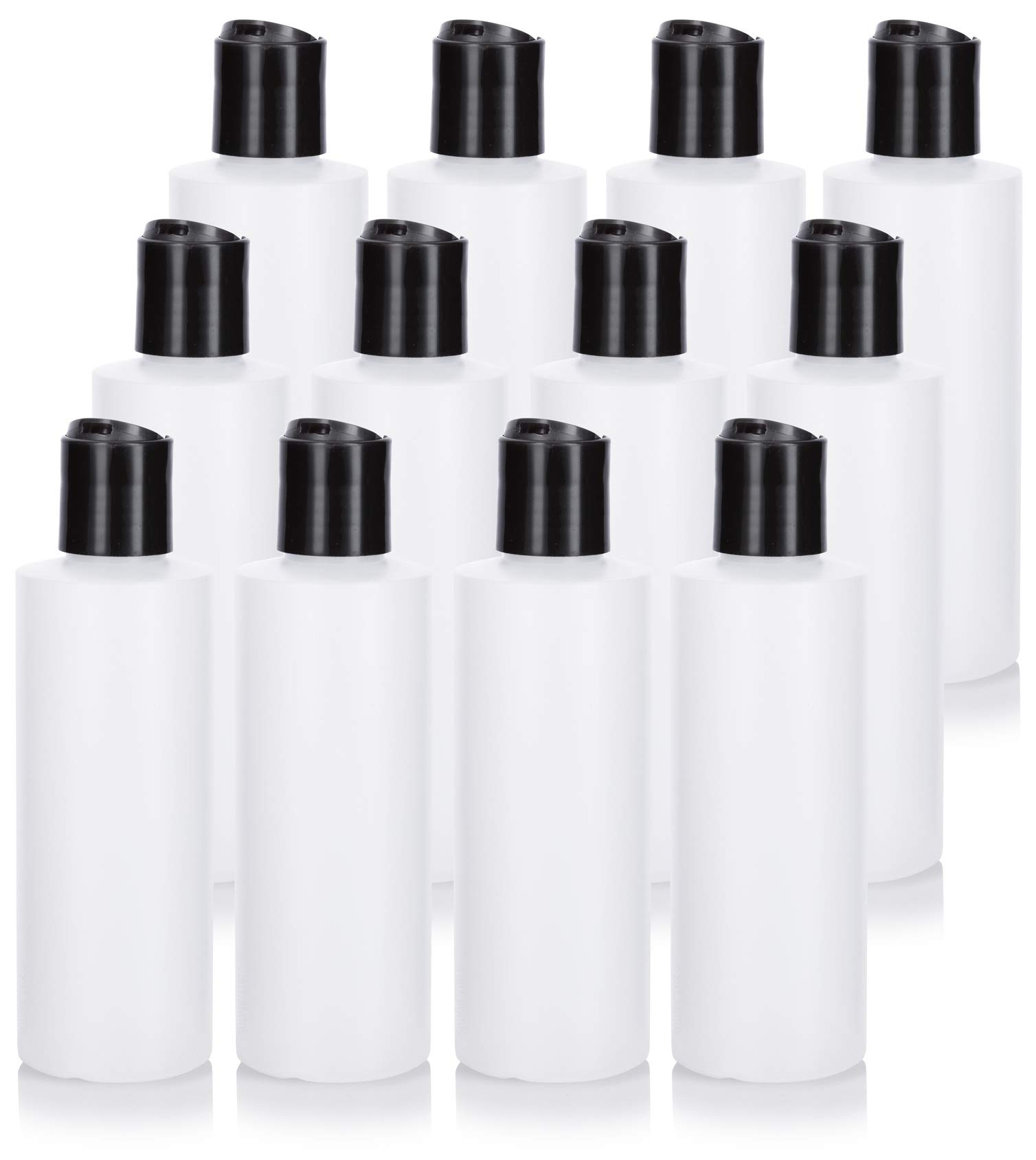 6 oz Clear Natural Refillable Plastic Squeeze Bottle with Black Disc Cap - (12 Pack)