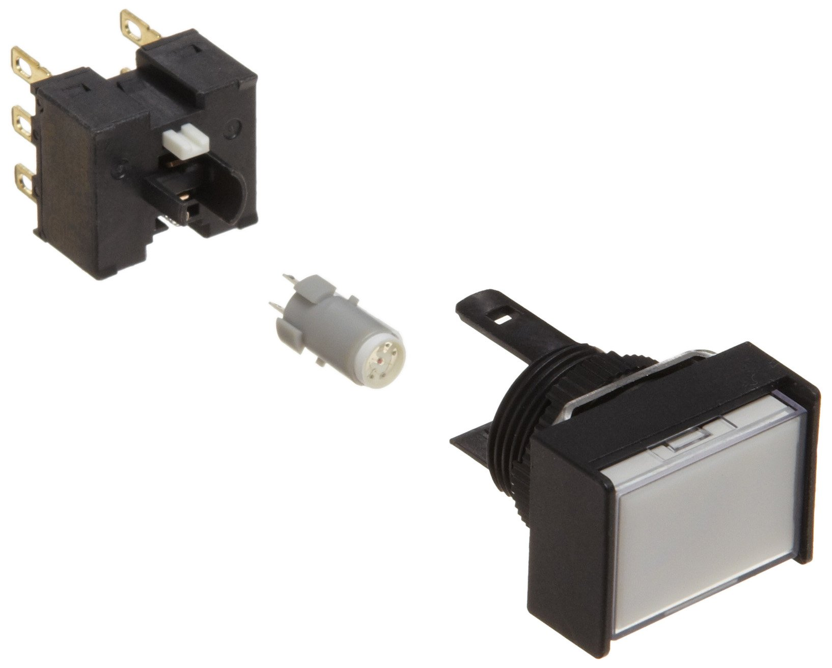 Omron A165L-JWA-24D-2 Two Way Guard Type Pushbutton and Switch, Solder Terminal, IP65 Oil-Resistant, 16mm Mounting Aperture, LED Lighted, Alternate Operation, Rectangular, White, 24 VDC Rated Voltage, Double Pole Double Throw Contacts