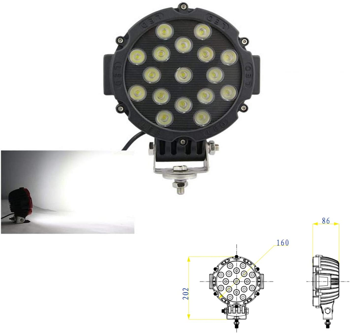 SXMA 7 pulgadas 51W Luz de trabajo LED redonda Faros delanteros Viga de inundación Luces LED impermeables para 4x4 Offroad Truck Tractor ATV SUV ...