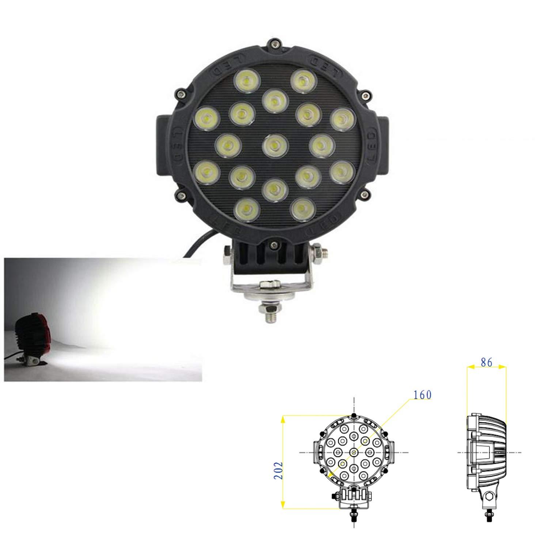 SXMA 7 Pulgadas 51W Luz de Trabajo LED Redonda Faros Delanteros ...