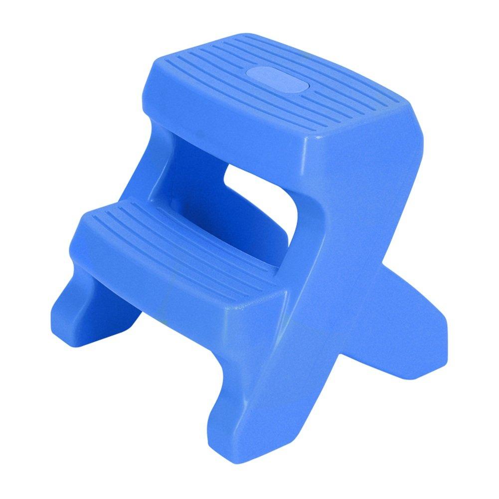 MILAYA JI Bin Shop Escalera De 2 Pasos Taburete Antideslizante para Baño De Bebé/para Niños Plástico Adecuado para Cocina, Baño Y Aseo + (Color : Azul, Tamaño : 44times;39times;40cm)