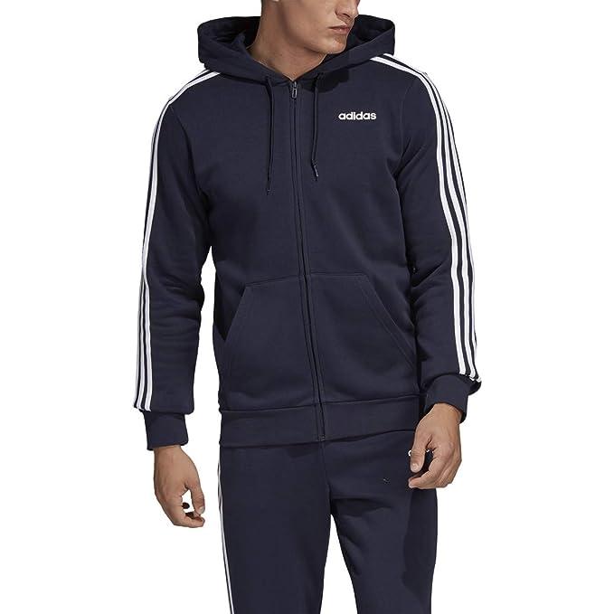 adidas Men's Essential 3 Stripe Pullover Hoodie Legend InkWhite