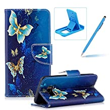 Leather Case for Samsung Galaxy S8,Flip Wallet Cover for Samsung Galaxy S8,Herzzer Stylish Luxury Butterfly Pattern Magnetic Closure Purse Folio Smart Stand Cover with Card Cash Slot Soft TPU Inner Case for Samsung Galaxy S8 + 1 x Free Blue Cellphone Kickstand + 1 x Free Blue Stylus Pen