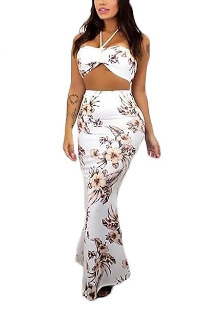 Mujer Conjuntos De Crop Top Y Faldas Largas Verano Elegantes Moda Dulce Lindo Chic Estampado Flores