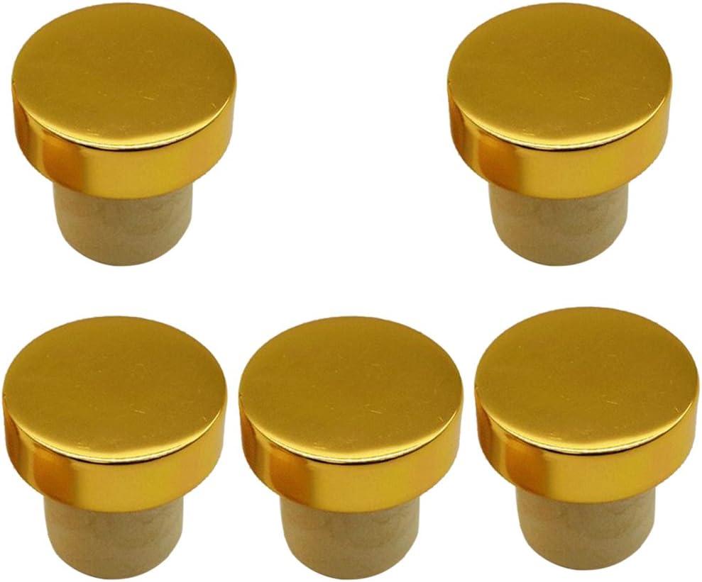 5Pc T-Shape Cork Bung Stopper Plugs Red Wine Beer Bottle Sealing Caps Golden