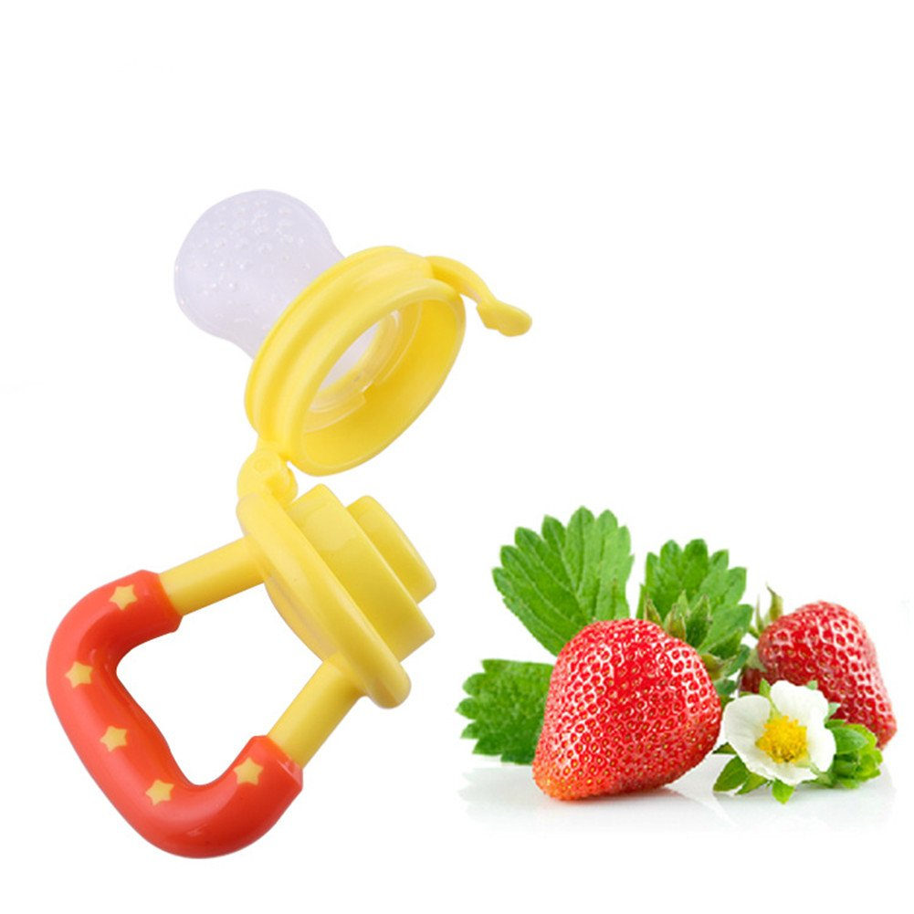 Feeder Pacifier Babyfeeder Wean Tool Infant Food Fruits Safe Baby Supplies Silicon Nipple Teething Toy Soother Teether (L, yellow) Beauty DIY Mart