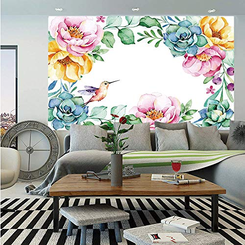 Succulent Removable Wall Mural,Nature Themed Framework with Floral Flourish Border and Cute Little Hummingbird Decorative,Self-Adhesive Large Wallpaper for Home Decor 66x96 inches,Multicolor ()