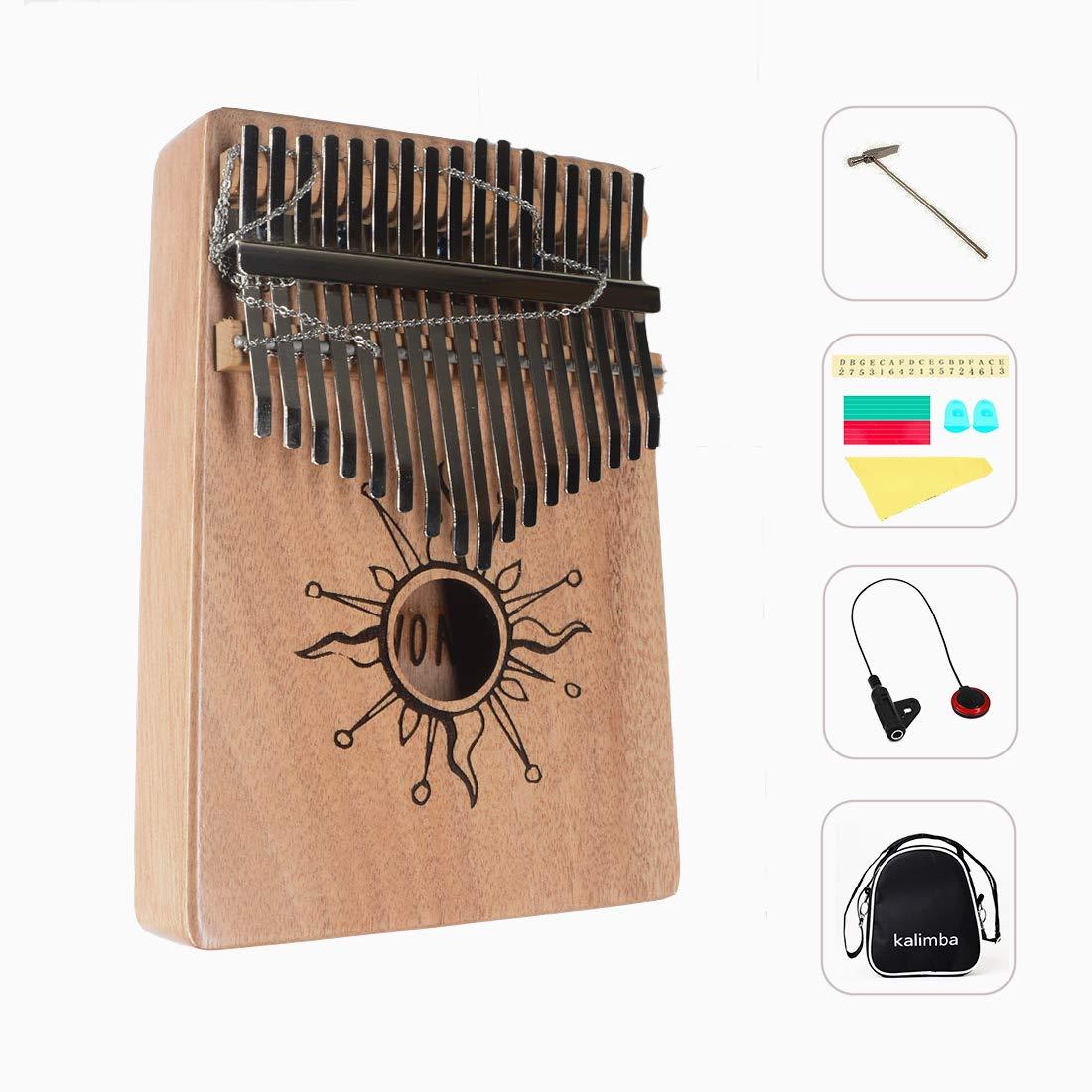 AOVOA Thumb Piano, 17 key Kalimba, Finger Piano Mbira, Mahogany Body Kalimba with Tuning Hammer, Pickup, Finger Guards, Carry Bag and Key stickers, Ideal Gift for Music Fans by AOVOA (Image #1)