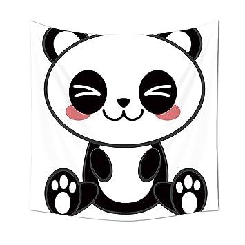 Anime Tapestry Decor Cute Cartoon Smiling Panda Fun Animal Theme Japanese Manga Kids Teen Art Print