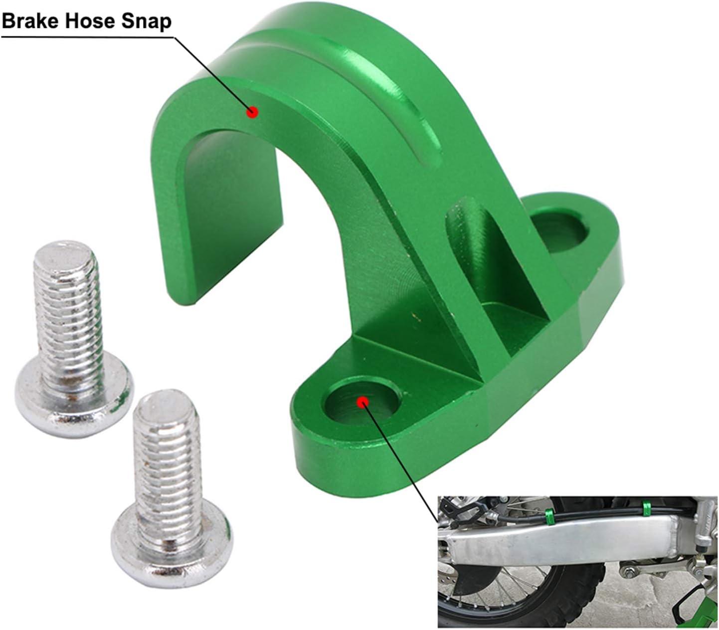 Motorcycle Rear Brake Line Hose Snap Clamp CNC For Kawasaki KX250F KX450F Green