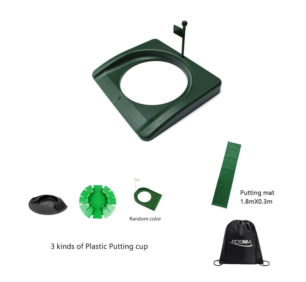 POSMA PHS013 Plastic Practice Putting Cup Golf Hole Training Aid Bundle Set with Putting Cup + Putting Mat + Carry Bag