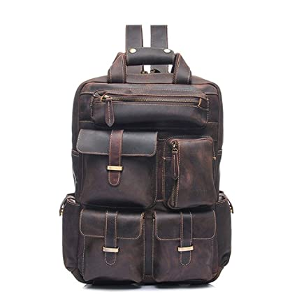 167c52f1eb2c Image Unavailable. Image not available for. Color  MKHDD Vintage Genuine Leather  Backpack Laptop Storage Rucksack High School College Travel Bag for Men ...