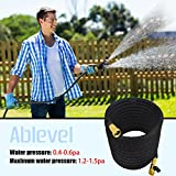Ablevel Expanding Hose, Strongest Expandable Retractable Garden Hose on the Planet Watering Hose Car (75 Feet, Black)