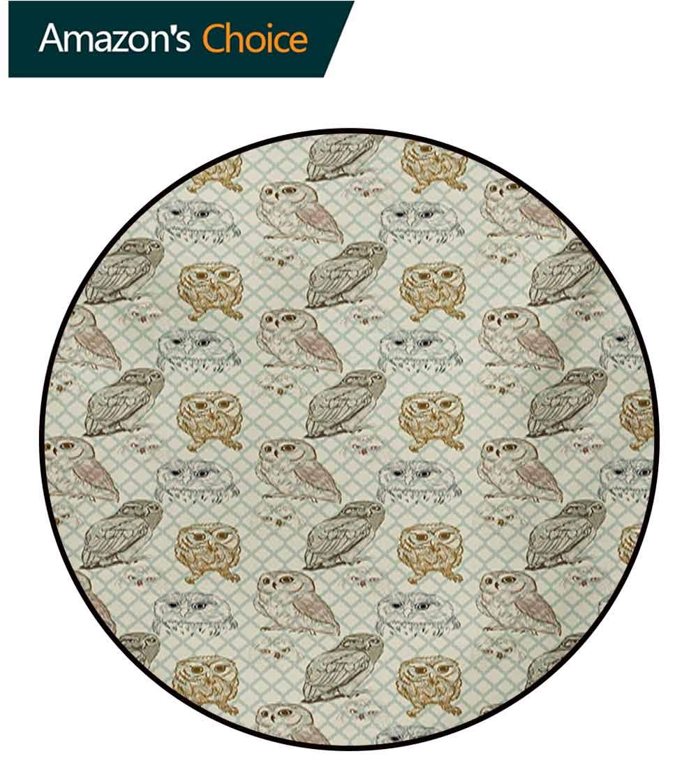 RUGSMAT Owl Modern Flannel Microfiber Round Area Rug,Cool Looking Owls Different Shapes and Sizes Drawing Style Sketch Pattern Print Living Room Bedroom Study Soft Carpet,Round-71 Inch