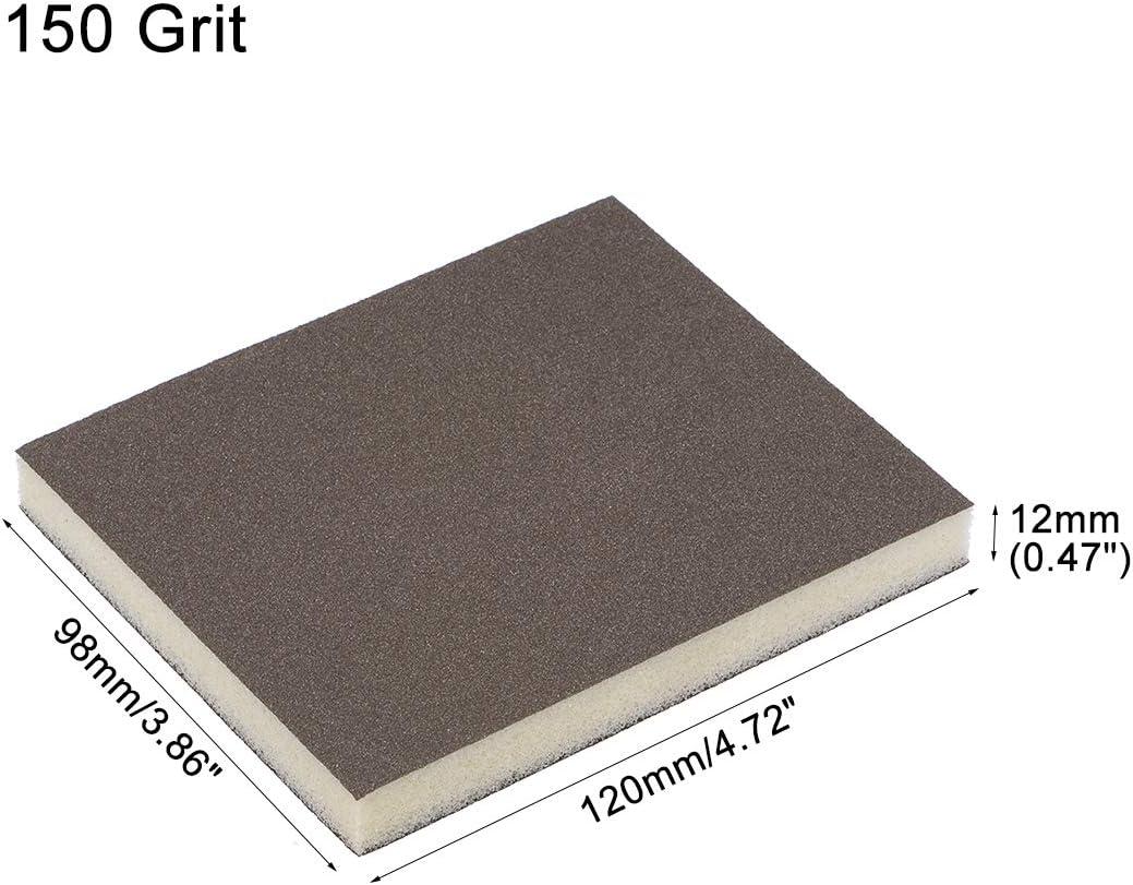 120mm x 98mm x 12mm uxcell Sanding Sponge Block 150 Grit