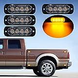 4X AMBER Ultra Thin 4-LED Warning Emergency