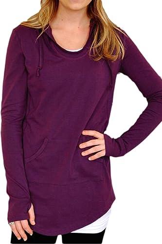 Curved Hem Mujeres Bolsillo Manga Larga Blusa De Cuello Redondo T Shirt