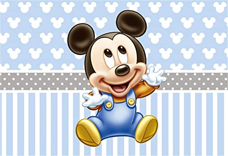 86ed2353fae5 Amazon.com : Mickey Mouse Step and Repeat Background 7x5 Light Blue ...