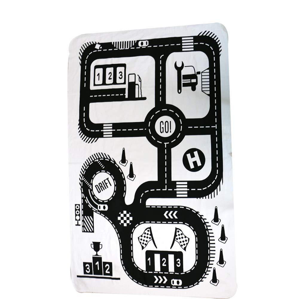 Alfombra De Juegos Carretera BebÉS Lavable AlgodÓN Antideslizante Paquete De Almacenamiento PortÁTil De Juguetes Mantas lvbe