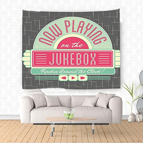 Price comparison product image Nalahome Jukebox Charcoal Grey Backdrop with 50s Inspired Radio Music Box Image Mint Green Hot Pink and White Ethnic Decorative Tapestry Blanket Wall Art Design Handicrafts 59W x 39.3L Inches