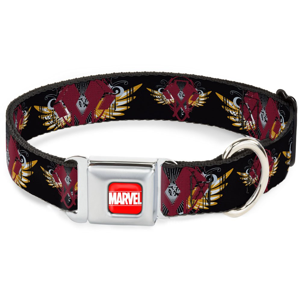 Thor's Hammer w Wings CLOSE-UP Black gold Burgundy 1\ Thor's Hammer w Wings CLOSE-UP Black gold Burgundy 1\ Buckle Down Seatbelt Buckle Dog Collar Thor's Hammer w Wings Close-UP Black gold Burgundy 1  Wide Fits 15-26  Neck Large