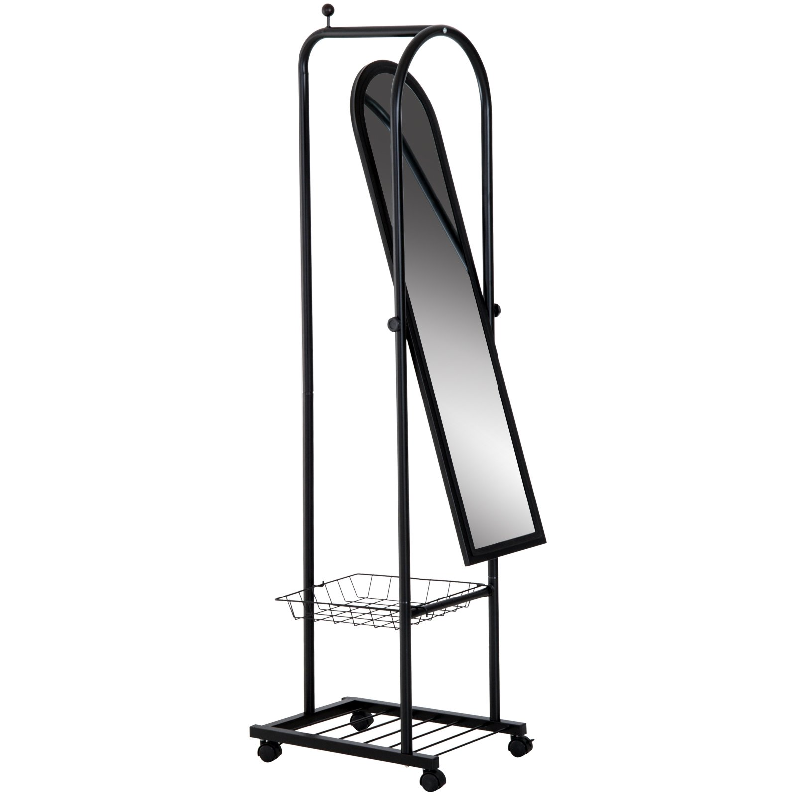 HOMCOM 65'' Steel Free Standing Metal Rolling Dressing Mirror with Clothes Rack and Baskets - Black