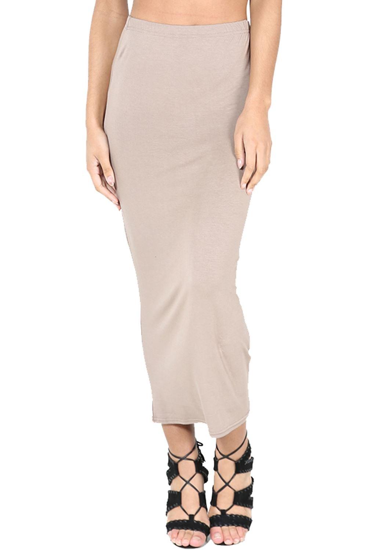 Womens Ladies Plain Stretchy Pencil Tube Bodycon Long Line Jersey Midi Skirt