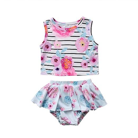 0185a8c3c1d8 Opperiaya Cute Newborn Baby Girls Sleeveless Striped Flower Crop Tops  Briefs Shorts Outfits Summer Clothes Skirt
