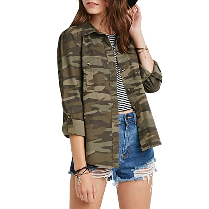 30aecab6afb5a Amazon.com: Eiffel Women's Military Camouflage Army Button up Short Jacket  Blouse Top Coat: Clothing