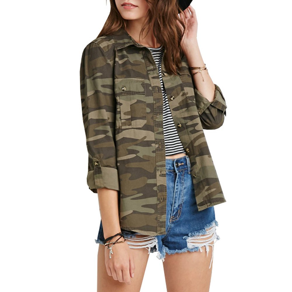 Eiffel Women's Military Camouflage Army Button up Short Jacket Blouse Top Coat