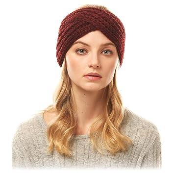 Burgundy Headband Ear Warmer Handmade Winter Hat Keep Ears Warm in Cold Weather Size Medium-Large Crocheted Hat