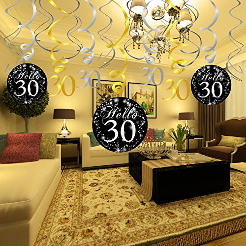Konsait 30th Birthday Decoration Hanging Swirl