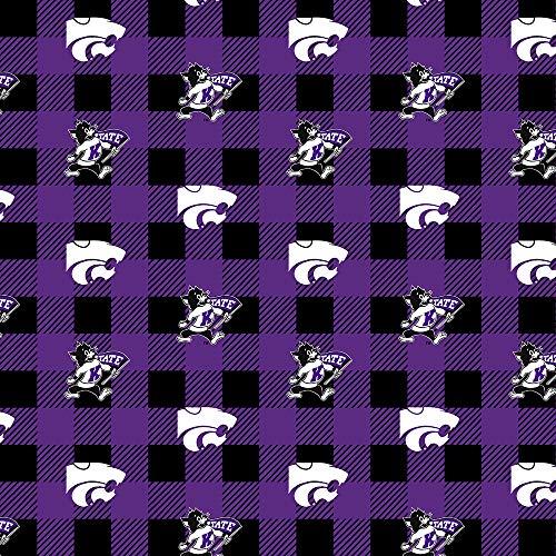 Kansas State Fleece Blanket Fabric-Kansas State Wildcats Fleece Fabric with Buffalo Plaid