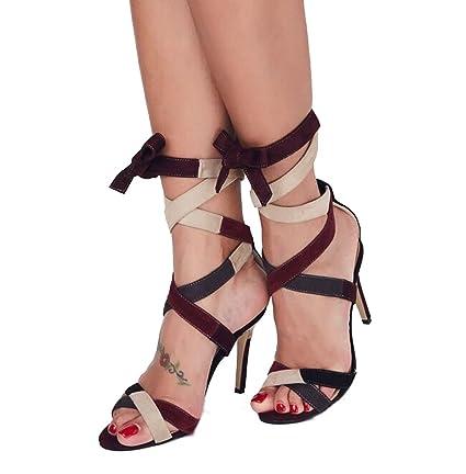 df37fa23 Mujeres Abiertas Toe Pumps Personality Splicing Color Cono Tacones Altos  Sandalias Verano Cruz Correas Sandalias (