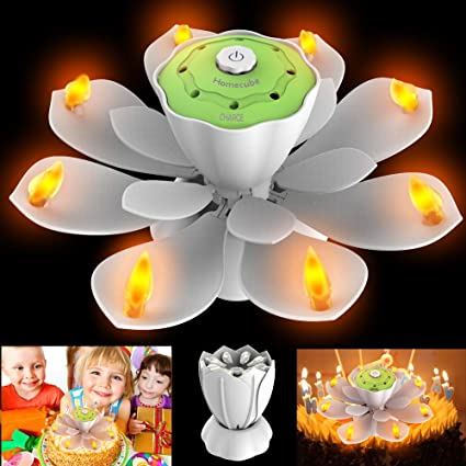 Homecube LED Birthday Candles Flameless Musical With 3 Adjustable Flash Modes Rotatable