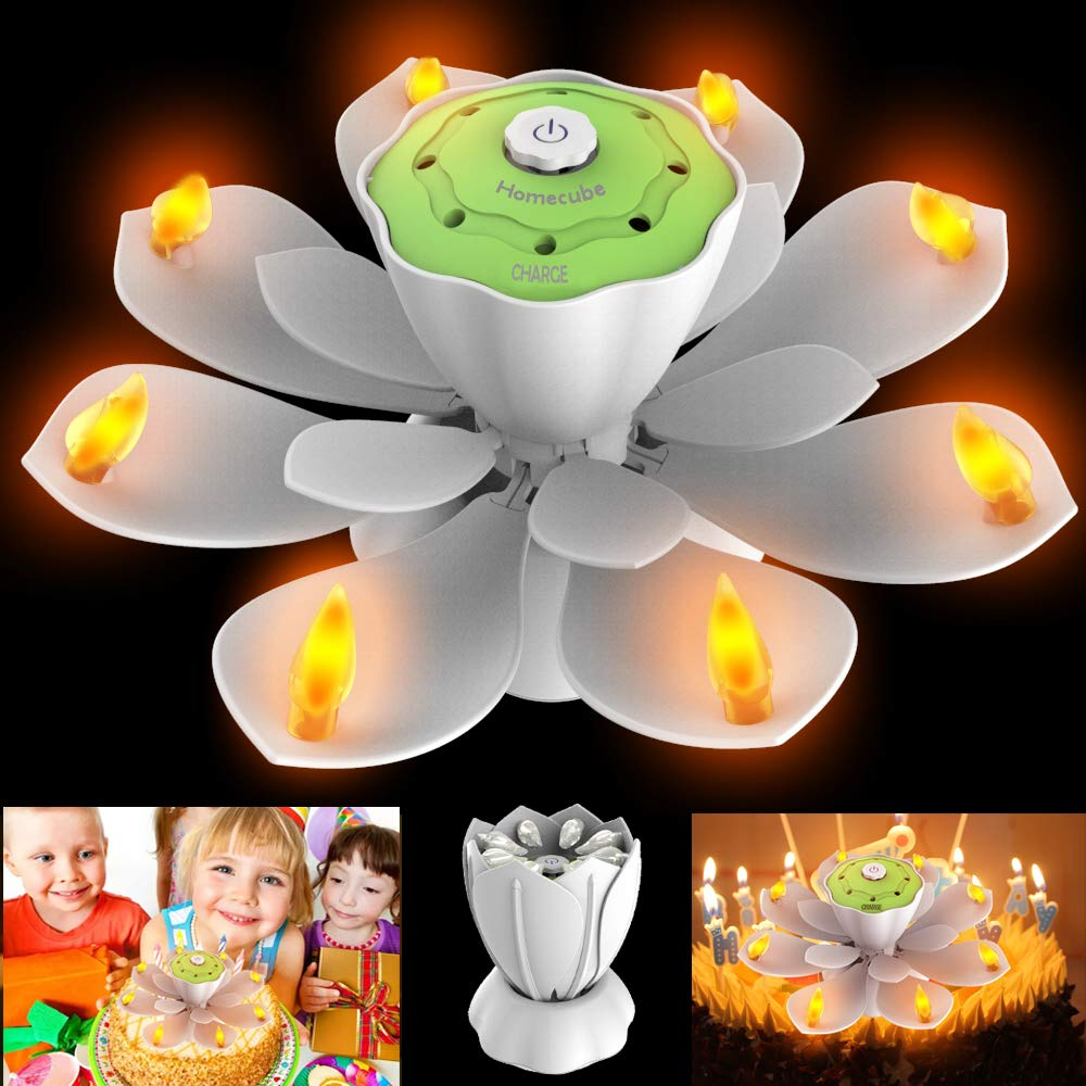 Homecube LED Birthday Candles, Flameless Musical Birthday Candles with 3 Adjustable Flash Modes, Rotatable Flower Birthday Cake Toy with Blow Out Design for Birthday Party Decoration (White)