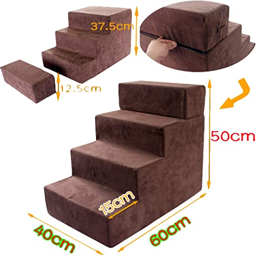 Zhyaj Rampa para Perros Escalera Perro Escaleras para Perros Cama Perro Grande Escaleras Escalada para Perros Gatos 3 se Pueden ensamblar en 4 Capas IR a la Escalera Cama Lana de algodón: