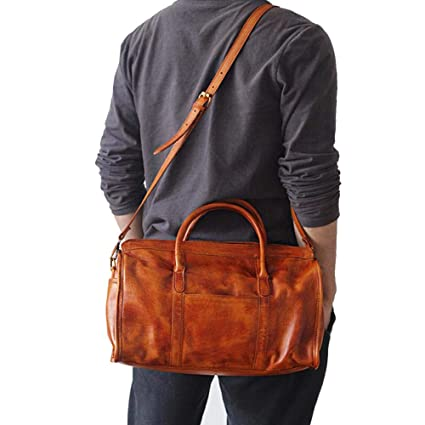 New Men/'s Genuine Soft Leather Travel Tote Duffel Gym Shoulder Carry On Hand Bag