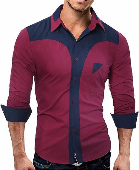 GK Hombre Camisa Moda Casual Camisa de Vestir Slim Fit Hombres camiseta de manga larga de moda casual hombres y pegar colores, rojo vino Serie L: Amazon.es: Deportes y aire libre