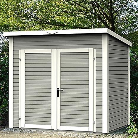 Caseta de jardín madera, diseño de chalet 4, 15, m2, color Gris: Amazon.es: Jardín